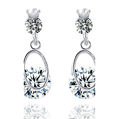 New Product High-end Fashion Silver Crystal Teardrop-shaped  Drop Earrings