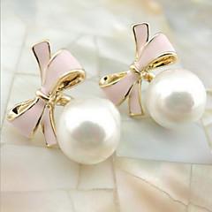 ドロップイヤリング ファッション 調整可能 真珠 合金 円形 リボン ジュエリー ホワイト ブラック ブルー ピンク ジュエリー のために 日常 カジュアル 1セット