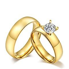 בגדי ריקוד גברים נשים לזוג טבעות לזוג גדילים אופנתי וינטאג' תכשיטים זירקוניה מעוקבת פלדת טיטניום תכשיטים עבור חתונה Party יומי קזו'אל