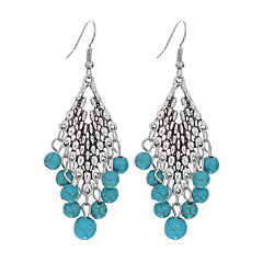 New Design Drop Dangle Earring Bohemian Ethnic Style Vintage Silver Long Earrings Jewelry Fashion Turquoise Earrings