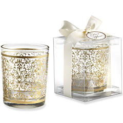 Bridesmaids / Bachelorette - Recipient Gifts - Gold Glass Tealight Holder Wedding décor, Candle Holder Wedding Favors
