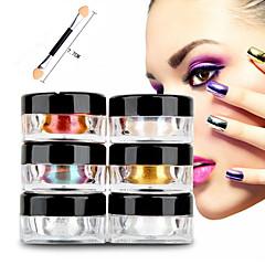 12pcs 2g / boîte ongles paillettes poudre shinning miroir yeux maquillage ombre poussière de poudre nail art chrome diy pigment paillettes