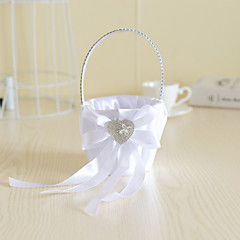 White Satin with Crystal Heart Shape Decoration Flower Basket for Wedding Party(12*12*24cm)