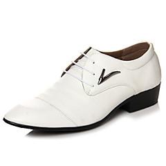 Masculino-Oxfords-Conforto / Bico Fino-Salto Baixo-Preto / Branco-Microfibra-Casamento / Escritório & Trabalho / Casual