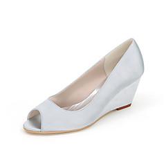 נשים-עקבים-משי-פלטפורמות / נעלים עם פתח קדמי-שחור / כחול / ורוד / סגול / אדום / שנהב / לבן / כסוף / זהב / שמפניה-חתונה / מסיבה וערב-עקב