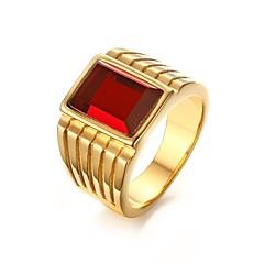 טבעות רצועה פלדת על חלד אבן נוצצת ציפוי זהב חיקוי יהלום אופנתי מותאם אישית מוזהב תכשיטים Party יומי קזו'אל 1pc