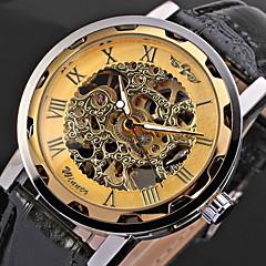 WINNER Herren Totenkopfuhr Armbanduhr Mechanische Uhr Mechanischer Handaufzug Transparentes Ziffernblatt PU Band Cool SchwarzWeiß / blau