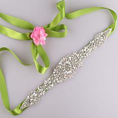 Satin Wedding / Party/ Evening / Dailywear Sash-Beading / Rhinestone Women's 98 in(250cm) Beading / Rhinestone