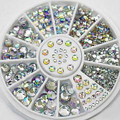 tamanhos mistos branco cristal arte de unhas acrílico ab jóias brilhando projeto manicure