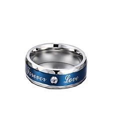 バンドリング ジュエリー ステンレス鋼 ジルコン キュービックジルコニア ファッション ブルー ジュエリー 日常 カジュアル 1個