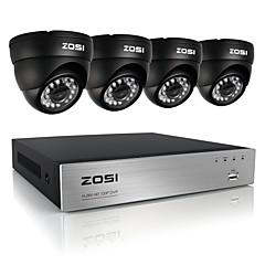 zosi®8ch 720p dvr 4stk 1.0mp ir dome kamera hjem sikringssystem overvågning kits