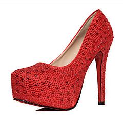 נשים-עקבים-PU-נוחות-אדום כסוף-יומיומי-עקב סטילטו