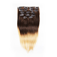 7pcs/set 14-18Inch Clip In Remy Human Hair Extensions 75g-85g Blonde Hair Ombre Straight Hair