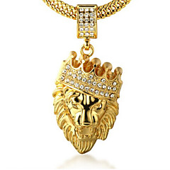 Men's Pendant Necklaces Rhinestone Crown Animal Shape Lion Gold 18K gold Imitation Diamond Alloy Rock Personalized Jewelry 147Party Gift