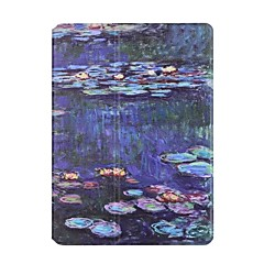 For Apple iPad Air2 Air Case Cover Lotus Pond Moonlight Pattern PU Leather Stent Flat Shell
