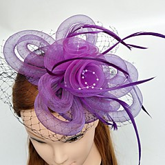 Women's Feather Tulle Chiffon Headpiece-Wedding Special Occasion Fascinators 1 Piece