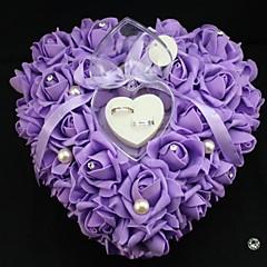 hjerte form steg blomst perle ring kasse pude til bryllup (26 * 26 * 13cm) påfugl bryllup
