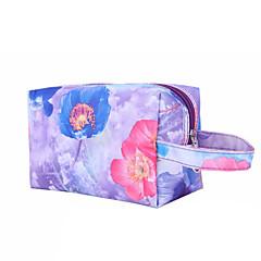 Ukládání make upu Kosmetická taška / Ukládání make upu Nylon / PU Květiny Kvadrát 19x11.5x10cm Hnědá / Stříbrná / Červená