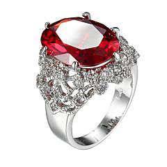指輪 キュービックジルコニア ジルコン キュービックジルコニア スチール ファッション レッド ジュエリー カジュアル 1個