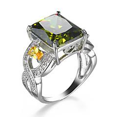 טבעת זירקונה מעוקבת זירקון זירקוניה מעוקבת סגסוגת ירוק תכשיטים חתונה קזו'אל 1pc
