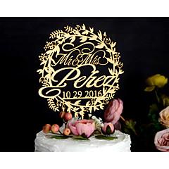 ケーキトッパー あり 夫妻 アクリル クロム カード用紙 結婚式 記念日 イエロー フローラルテーマ クラシックテーマ ヴィンテージテーマ 素朴なテーマ ポリバッグ