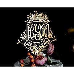 Figurki na tort Spersonalizowane Klasyczna para Monogram Żywica Akrylowy Chrom Ślub Rocznica Prysznic dla nowożeńców ŻółtyMotyw Garden