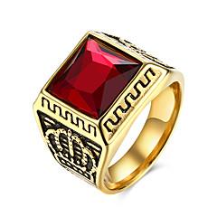Herre Ring Personaliseret Europæisk kostume smykker Rustfrit Stål Titanium Stål Glas Kroneformet Smykker Til Fest Daglig Afslappet