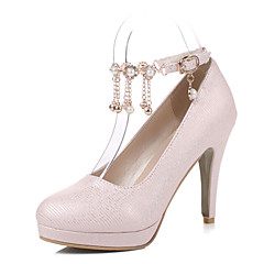 Women's Heels Spring Summer Fall PU Casual Party & Evening Stiletto Heel Imitation Pearl Tassel White Black Blushing Pink