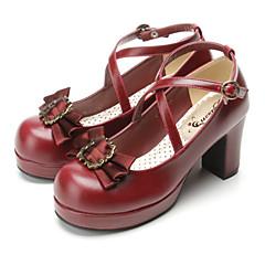 Sapatos Gótica Doce Lolita Clássica e Tradicional Punk Wa Marinheira Inspiração Vintage Elegant Vitoriano Salto Alto Laço Laço 7.5 CM