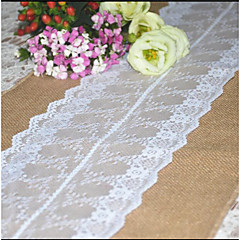 30cmx275cm Natural Vintage Burlap Lace Hessian Table Runner Wedding Party Decoration Jute Table Runners