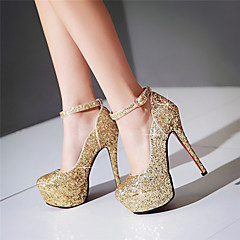 Women's Heels Spring Summer Fall Other Glitter Wedding Party & Evening Dress Stiletto Heel Sequin Buckle Black White Silver Rose Gold