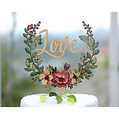 Wood Wedding Cake Topper with Lettering Love and Hand Printed with Floral Wreath