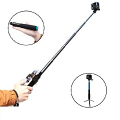 TELESIN 6-in-1 Aluminum Alloy Handheld Monopod Selfie Stick with Tripod & Phone Clip for Apple Android Smartphones Gopro - Black 8 Short in Folded