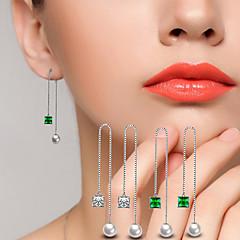 AAA Cubic Zirconia Drop Earrings Ball Earrings Jewelry Wedding Party Alloy Cubic Zirconia Silver Plated 1 pair Silve Emerald  Green
