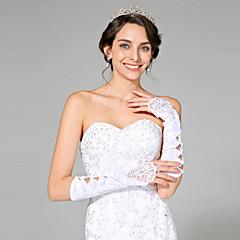 Elbow Length Fingerless Glove Satin Bridal Gloves Beading