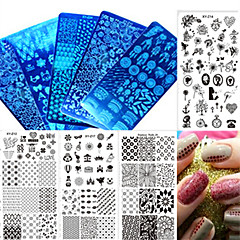 1db új, színes kép divatkép szerelmes szív virág design köröm rozsdamentes acél sajtolás lemez köröm DIY eszköz manikűr Beauty xy-z11-20
