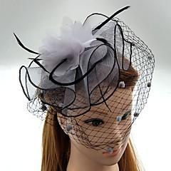 Femme Plume Tulle Filet Casque-Mariage Occasion spéciale Coiffure Chapeau Voile de cage à oiseaux 1 Pièce