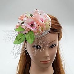 Mulheres Linho Chifon Tecido Rede Capacete-Casamento Ocasião Especial Fascinador Flores Chapéus Véus de Rede Grinaldas 1 Peça