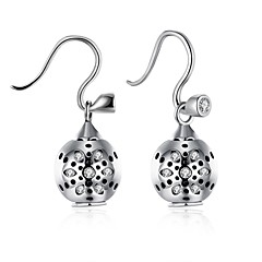 AAA Cubic Zirconia Drop Earrings Jewelry Wedding Party Halloween Daily Casual Sterling Silver Zircon 1 pair Silver