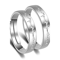 Ring Wedding Party Special Occasion Jewelry Platinum Plated Heartbeat Couple Rings 1 pair Adjustable Silver