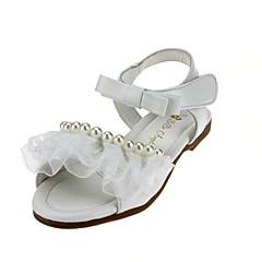 Para Meninas-Rasos-Menina Flor Shoes-Rasteiro-Rosa Branco-Courino-Casamento Ar-Livre Escritório & Trabalho Social Casual Festas & Noite