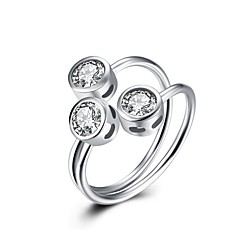 Ring Wedding Party Special Occasion Daily Casual Jewelry Sterling Silver Zircon Ring 1pc,Adjustable Silver