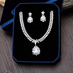 Šperky 1 x náhrdelník 1 x pár náušnic Kubický zirkon Svatební Párty Zvláštní příležitosti Denní Ležérní Zirkon 1Nastavte StříbrnáSvatební
