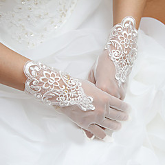 Wrist Length Fingertips Glove Tulle Bridal Gloves Party/ Evening Gloves Spring Summer Fall Appliques