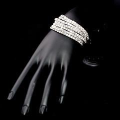 Dame Tennisarmbånd Wrap Armbånd Mode Legering Firkantet form Sølv Smykker For Bryllup Fest Speciel Lejlighed Forlovelse Julegaver 1 Sæt