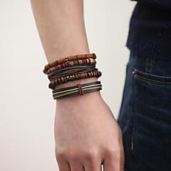 The New Vintage Cowhide Ancient Hand Woven Bracelet Cortical Layers Hand Rope Men's Bracelet Adjustable Size050