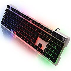 Sades linguagem de linguagem leve computador usb teclado com 7 cores backlight 104 teclas para lol dota