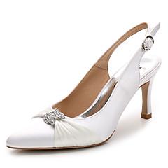 נשים-סנדלים-משי-רצועה אחורית נעלי מועדון-לבן ורוד בהיר כחול ים-חתונה משרד ועבודה שמלה יומיומי מסיבה וערב-עקב סטילטו