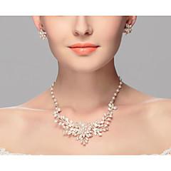 בגדי ריקוד נשים שרשראות מחרוזת פנינה סגסוגת Euramerican לבן תכשיטים ל חתונה Party אירוע מיוחד יום הולדת ארוסים קזו'אל 2pcs
