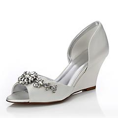 Feminino-Sapatos De Casamento-Conforto Sapatos Dyeable-Anabela-Ivory-Seda-Casamento Ar-Livre Escritório & Trabalho Social Festas & Noite